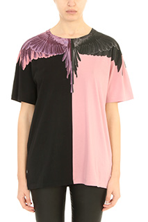 Marcelo Burlon-T-Shirt Enrika in cotone nero rosa