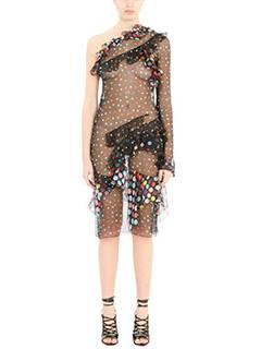 Givenchy-Vestito in seta pois nera e multicolor