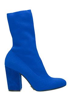 Elena Iachi-Tronchetti in tessuto elasticizzato blu
