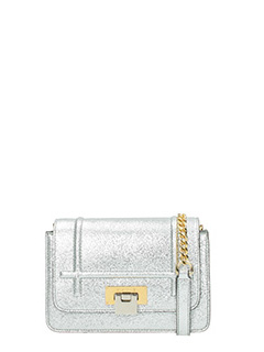 Visone-Borsa Lizzy Small in pelle argento