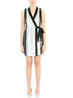 Diane Von Furstenberg-Vestito Wrap Sequin in tessuto paillettes nero argento bianco