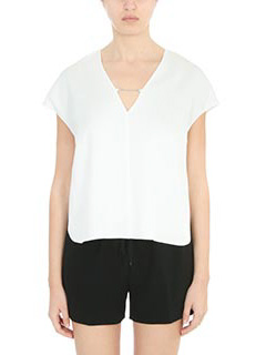 T by Alexander Wang-Top Sleeve Top in cr�pe bianca