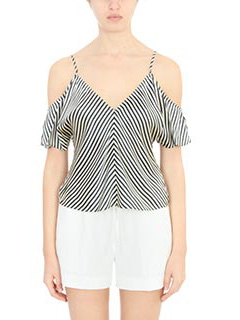 T by Alexander Wang-Top Striped top in seta nera bianca