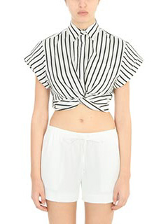 T by Alexander Wang-Top Striped Short Sleeve in cotone bianco nero