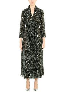Diane Von Furstenberg-Vestito Collared Wrap in cotone nero