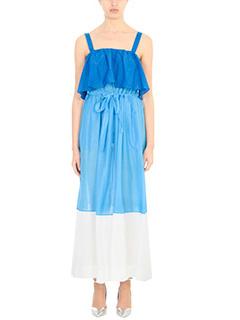 Diane Von Furstenberg-Vestito Two Tier Dress  in cotone blue azzurro bianco