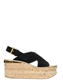 Chloé-Zeppe Camille in suede nero