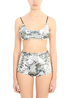 Off White-Top Sequins Bra in tessuto paillettes argento