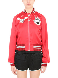 Off White-Giacca Bomber in satin rossa