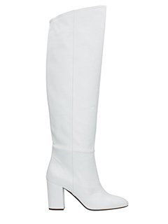 Off White-Stivali Hight Boot in pelle bianca