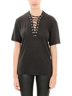 Iro-T-Shirt Imis in lino di cotone nero