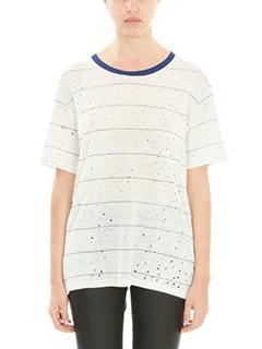Iro-T-Shirt Hadith in lino di cotone bianco blue