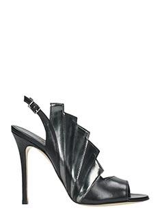 Good Vibes-Sandali in pelle nera