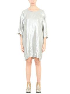 Golden Goose Deluxe Brand-Vestito Long Tshirt in tessuto lam� argento