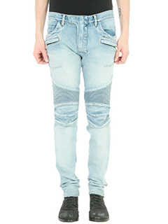 Balmain-Jeans Destroyed Biker in denim celeste