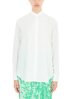Victoria Beckham-Camicia Grandad in popeline di cotone bianco
