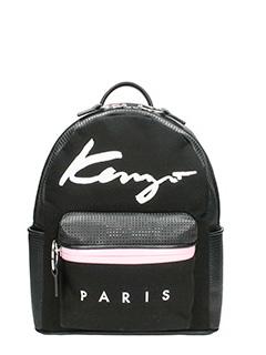 Kenzo-Zaino Small Signature Backpack in tessuto e nylon nero
