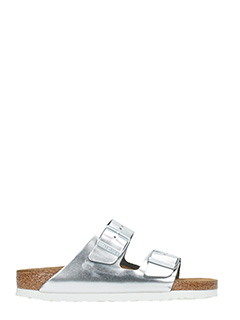 Birkenstock-Arizona sfb silver leather flats