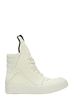 Rick Owens-Geobasket white leather sneakers