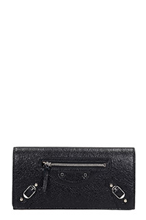 Balenciaga-Class money  black leather wallet