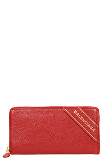 Balenciaga-bordeaux leather wallet