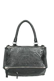 Givenchy-Borsa Pandora Media in pelle lavata nera