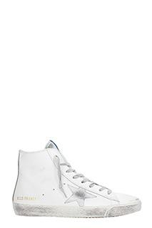 Golden Goose Deluxe Brand-Sneakers alte Francy in pelle bianca  argento
