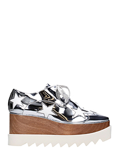Stella McCartney-Elyse stelle silver faux leather lace up shoes