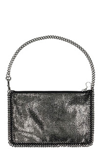 Stella McCartney-Falabella mini Tote silver faux leather clutch