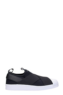 Adidas-Sneakers Superstar slip on in tessuto e pelle nera