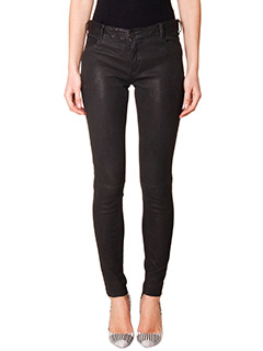 Drome-Pantaloni in pelle nera