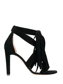 Chlo�-sand incro fran black suede sandals