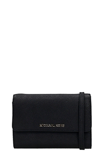 Michael Kors-lg phn crossbod black leather bag