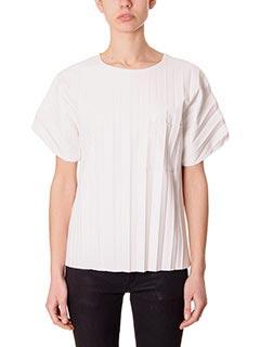 Alexander Wang-T-Shirt Kimono in pelle plisse bianca