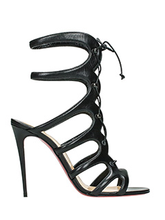 Christian Louboutin-amazoulo  black leather sandals