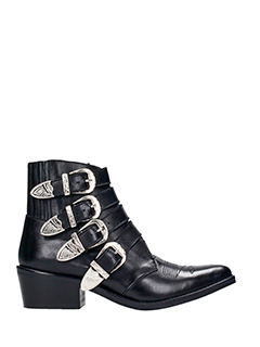 Toga Pulla-black leather ankle boots