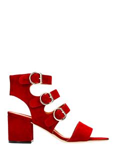 Via Roma 15-Sandali in camoscio rossa