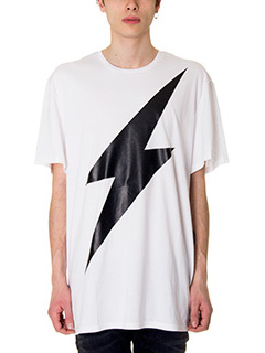 Neil Barrett-T-Shirt Lightning Bolt in cotone bianco