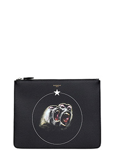 Givenchy-Pochette Monkey Brothers in pelle nera