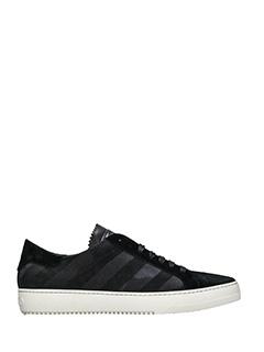 Off White-Sneakers Diagonals in pelle e suede nero
