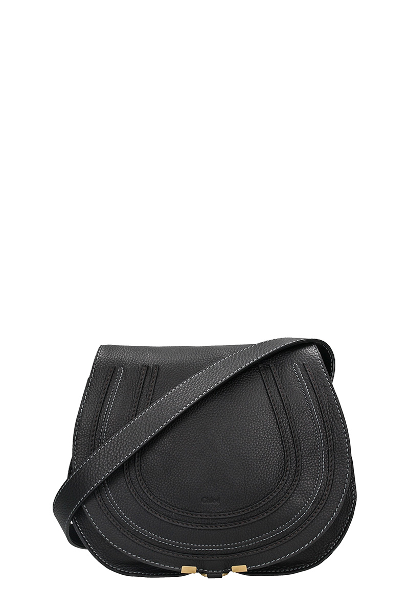 Chloé MARCIE SADDLE BAG IN BLACK GRAIN CALFSKIN