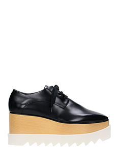 Stella McCartney-Elyse black faux leather lace up shoes