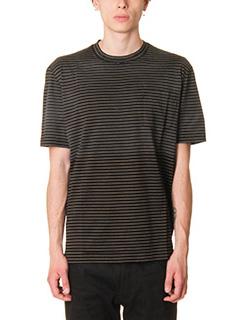 Lanvin-T-Shirt Stripe in cotone nero biege