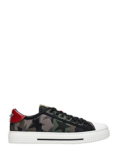 Valentino-Sneakers basse Camustars  in pelle  camouflage verde