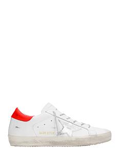 Golden Goose Deluxe Brand-Sneakers Superstar in pelle bianca argento rossa