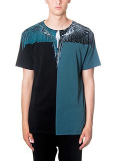 Marcelo Burlon-T-Shirt Lagunas Bravas in cotone bicolor verde nera
