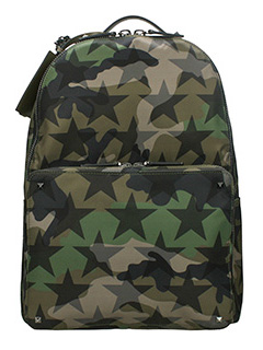 Valentino-Camustars green nylon backpack
