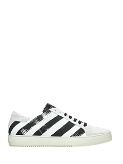 Off White-white leather and fabric sneakers