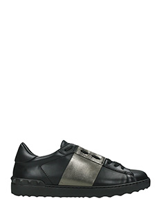 Valentino-low tripe black leather sneakers