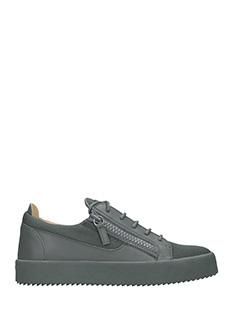Giuseppe Zanotti-Sneakers basse in pelle grigia. due zip laterali